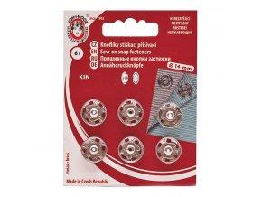 Patentky KIN průměr 14 mm / 6 kusů - stříbrné