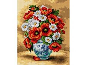 Předloha vyšívací 40 x 50 cm - Váza s květinami