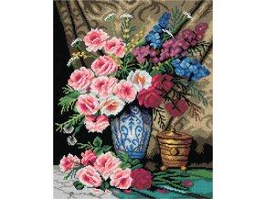 Předloha vyšívací 40 x 50 cm - Zátiší s květinami