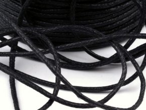 Šňůra bavlněná Ø 1,5mm voskovaná - černá (5 metrů)