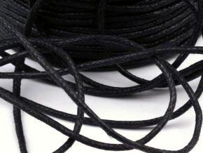 Šňůra bavlněná OE 1,5mm voskovaná - černá (5 metrů)