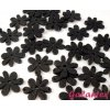 Dřevěné korálky / výsek 20x25mm  květinka - černá