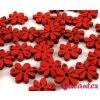 Dřevěné korálky / výsek 20x25mm  květinka - červená