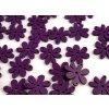 Dřevěné korálky / výsek 20x25mm  květinka - fialová