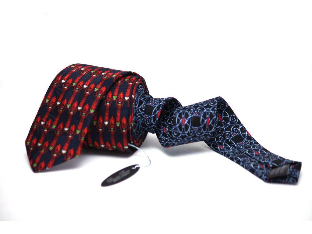 2363 cerno oranzova kravata s ornamentem