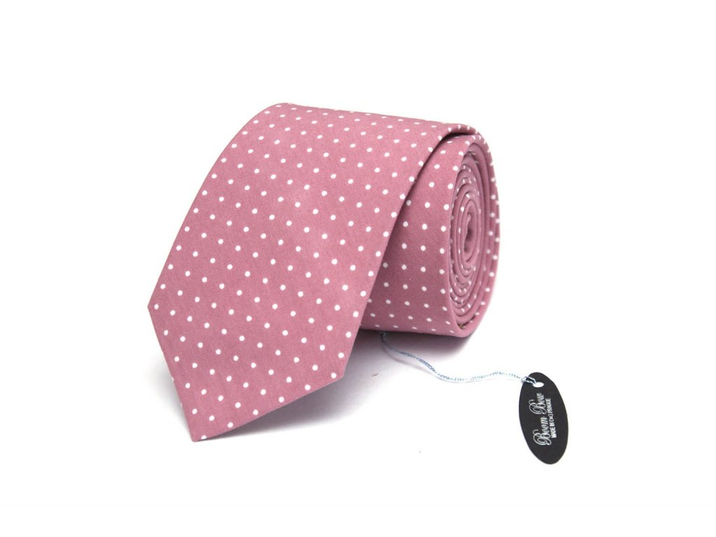 2369 ruzova pastelova kravata z bavlny