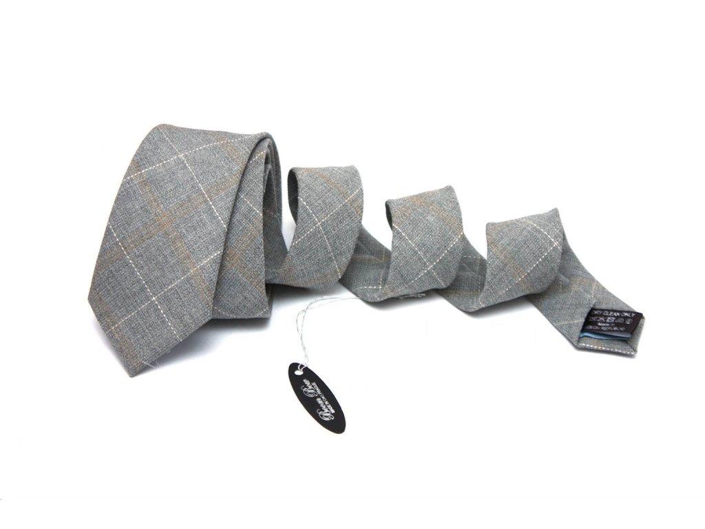 Vlněná šedá skinny kravata