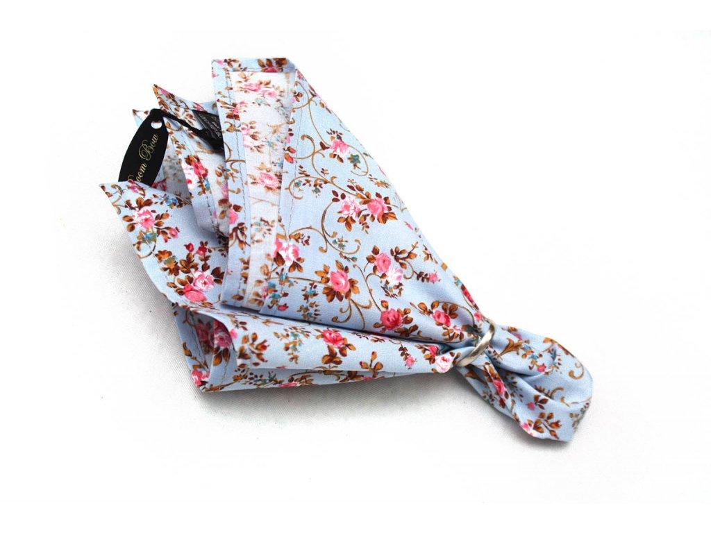 2429 svetlemodry kapesnicek s ruzovymi kvetinam ps104