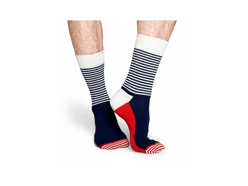HALF STRIPE SOCK BWR barevné ponožky Happy Socks