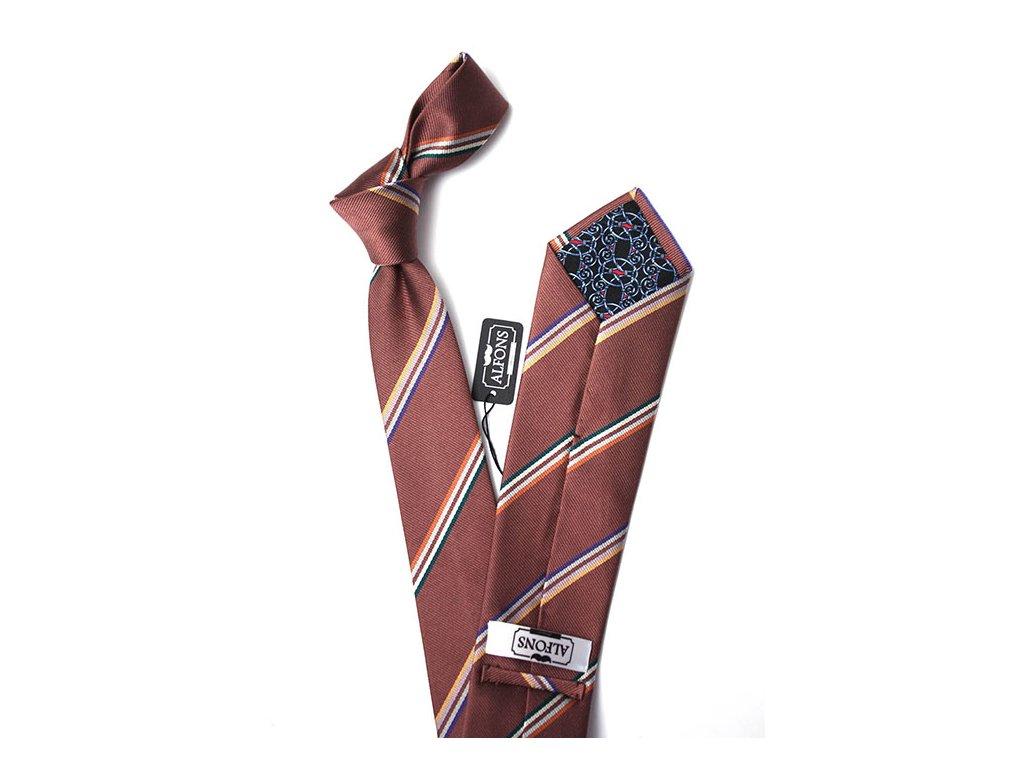hneda hedvabna kravata s pruhy 02
