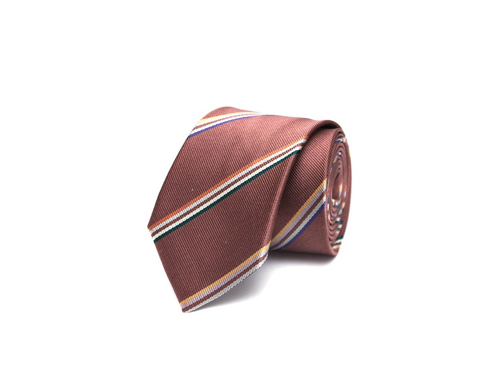 hneda hedvabna kravata s pruhy 03