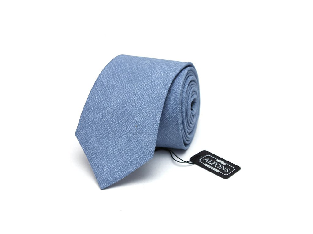 Šedo modrá kravata s jemnou bílou texturou