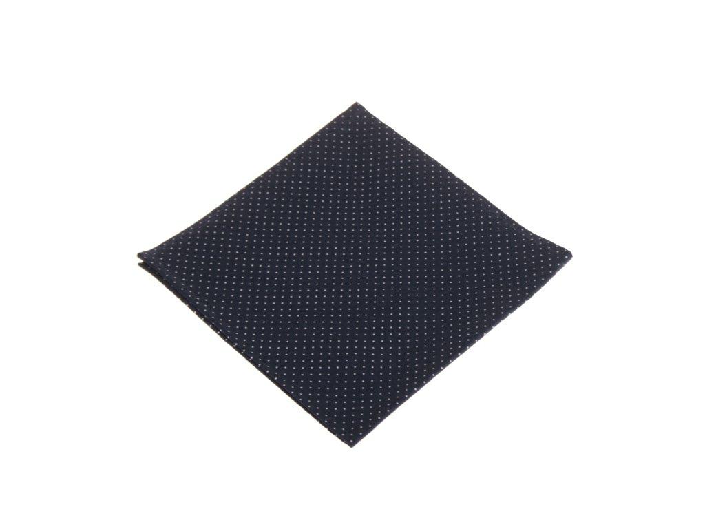 Tmavěmodrý kapesníček do saka s puntíkem