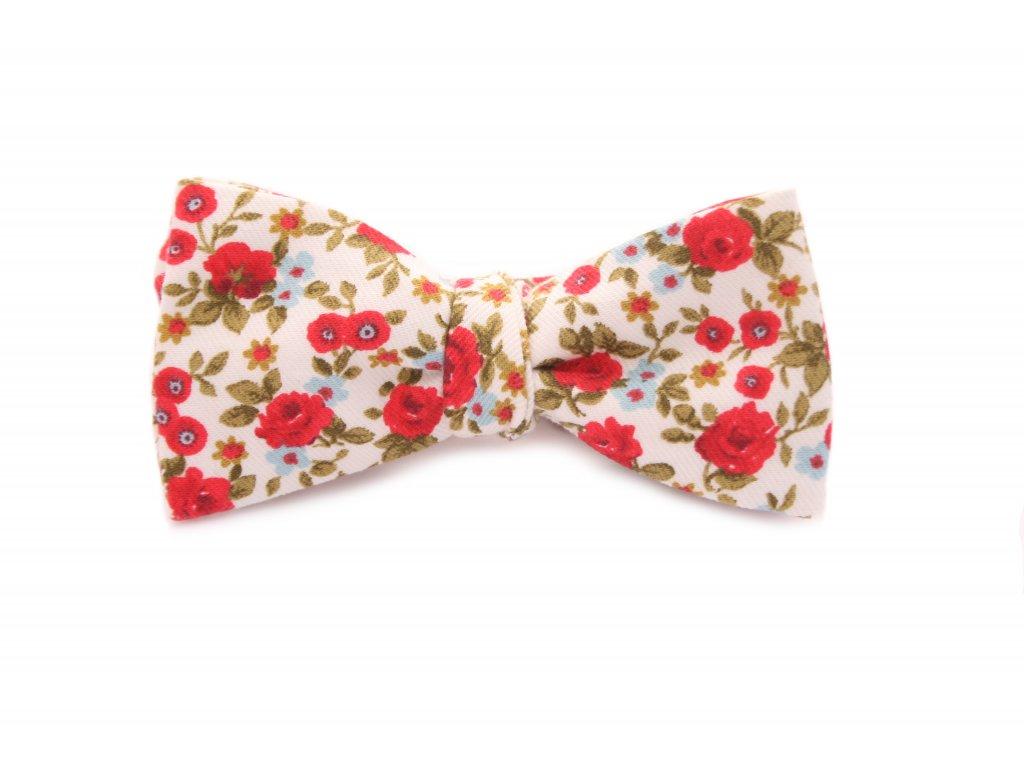 3930 1 kremovy vazaci motylek s cervenymi kvety