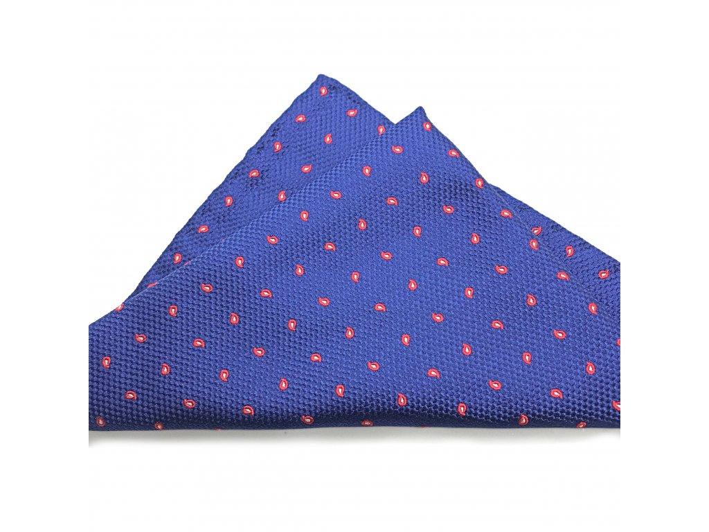 Modrý hedvábný kapesníček s jemným červeným paisley 01