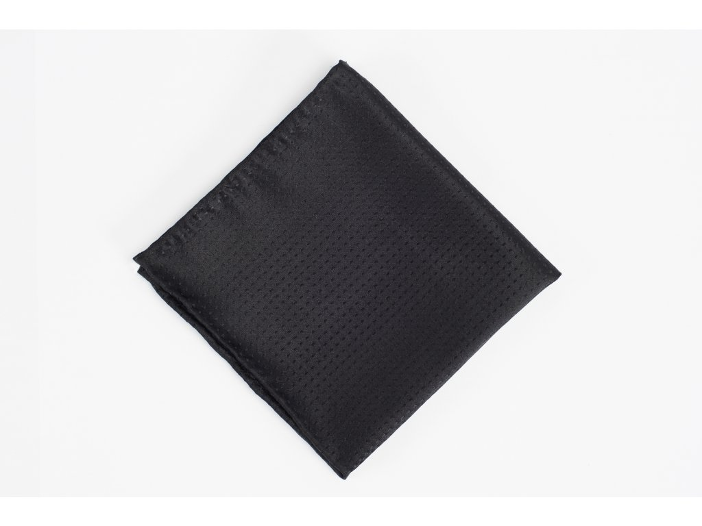 Černý svatební kapesníček z hedvábí Dot
