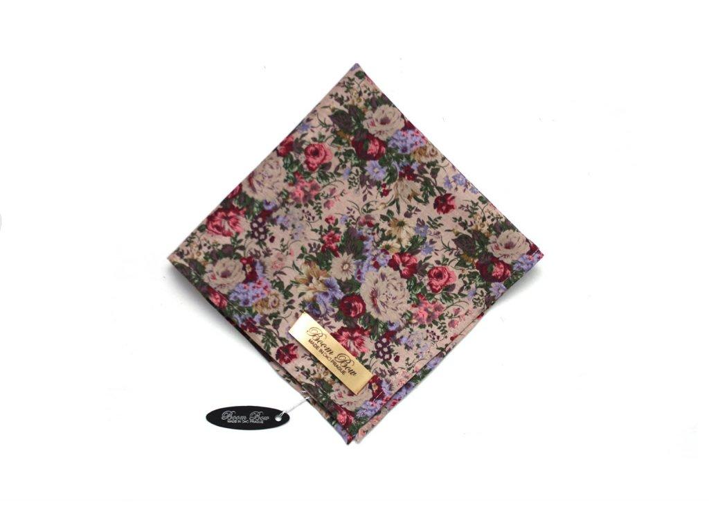 1565 hnedy bavlneny kapesnicek do kapsy s pivonemi