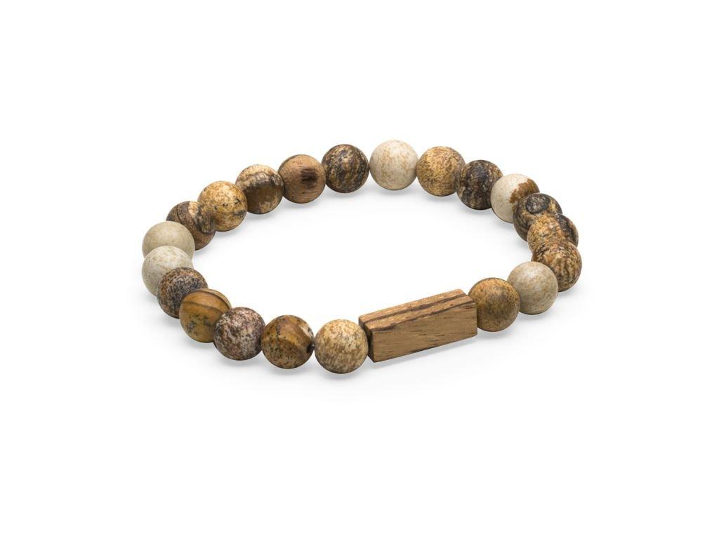 Hnědý korálkový náramek se dřevem 0 corra bracelet