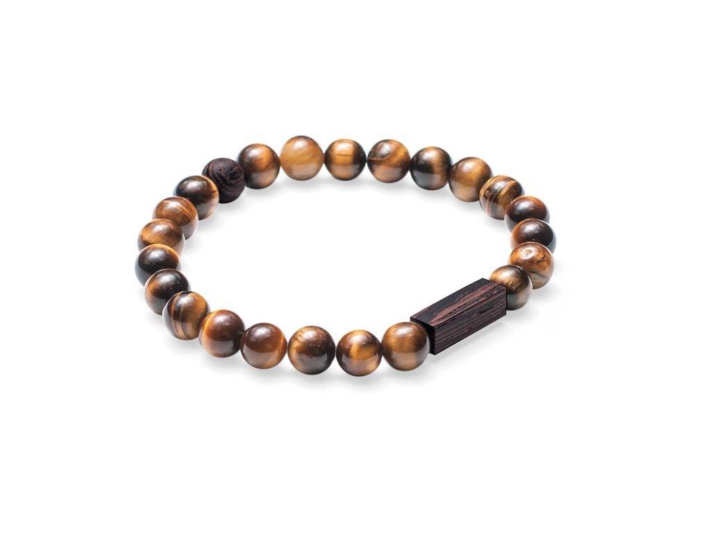 Hnědý korálkový náramek se dřevem 0 tigris bracelet