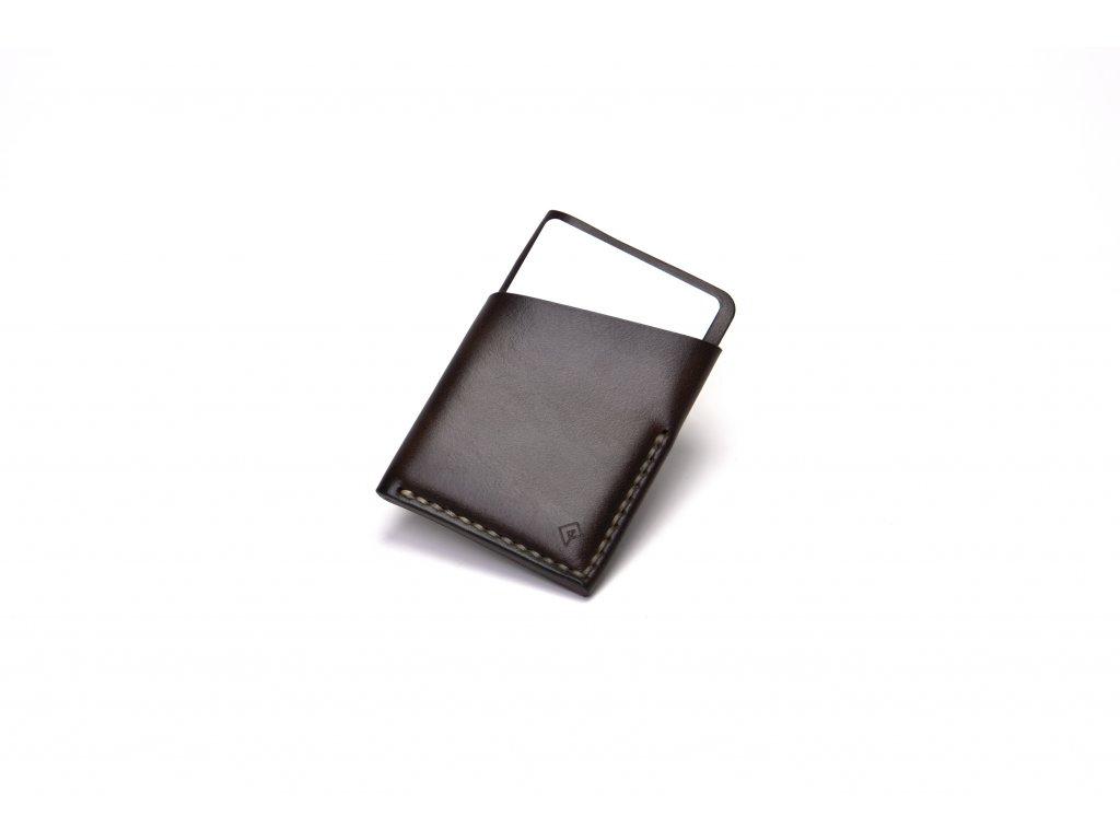 Platon kožená peněženka na karty hnědá