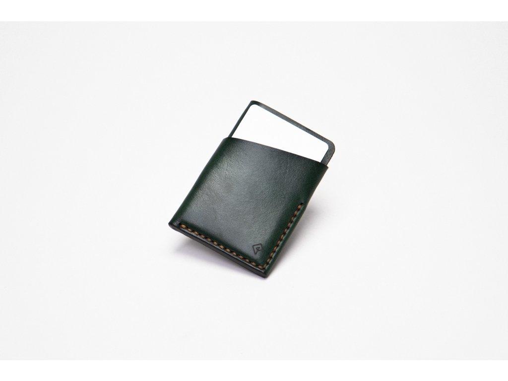 Platon kožená peněženka na karty zelená