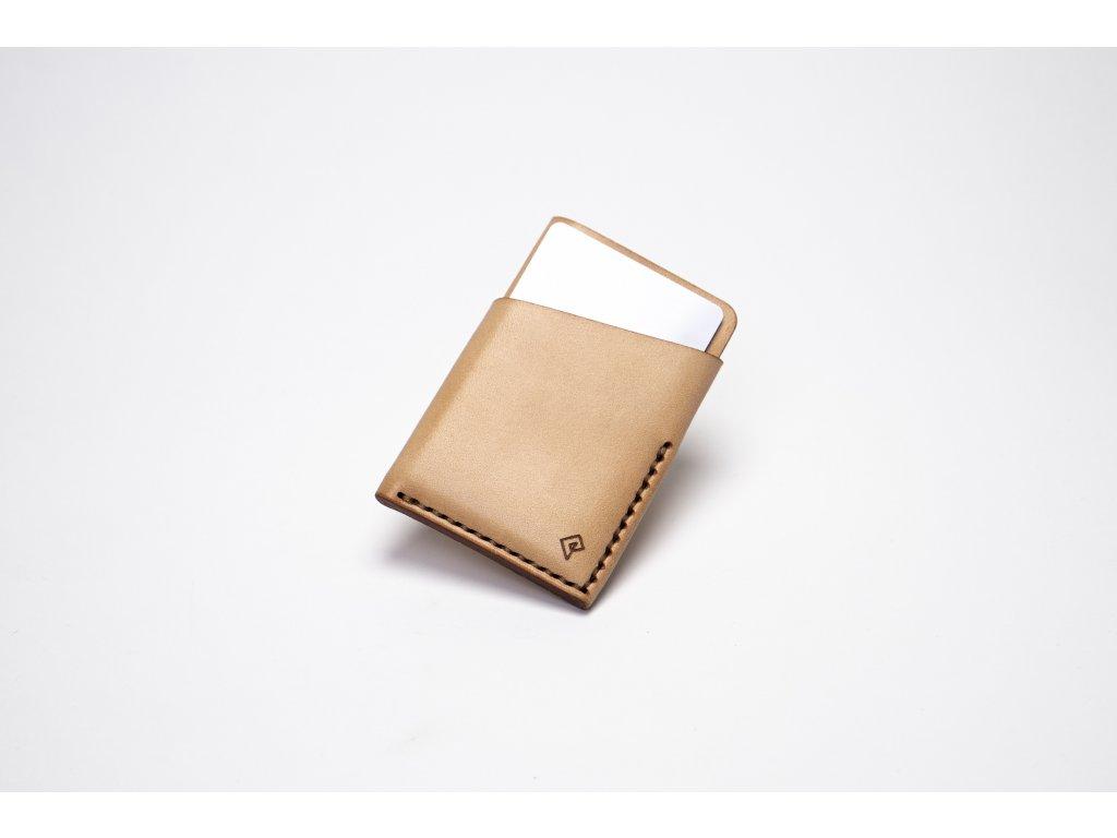 Platon kožená peněženka na karty světlá