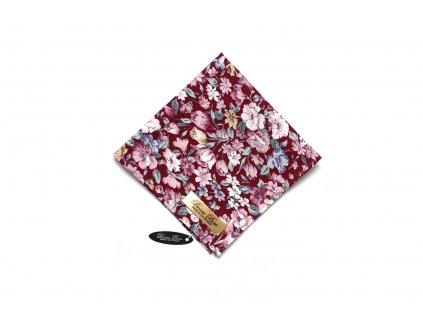 Bordó bavlněný kapesníček do kapsy s pivoněmi