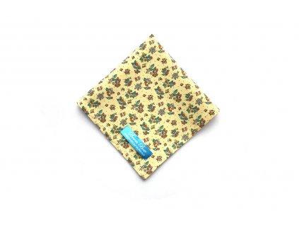 Žlutý bavlněný kapesníček do kapsy s květinami