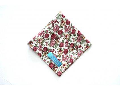 Bílý bavlněný kapesníček do kapsy s pivoněmi
