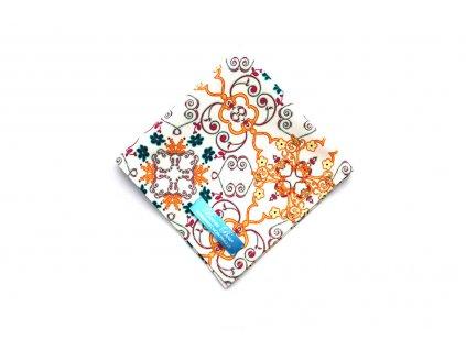 Smetanový bavlněný kapesníček do saka s květinamu