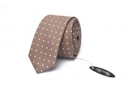Hnědá puntíkovaná kravata