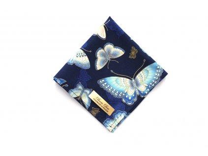 Tmavěmodrý kapesníček s motýly