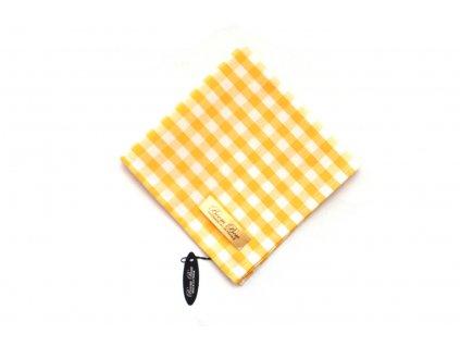 Bílo žlutý kostkovaný kapesníček