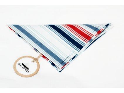 Pruhovaný kapesníček do klopy modro červeno šedo bílý