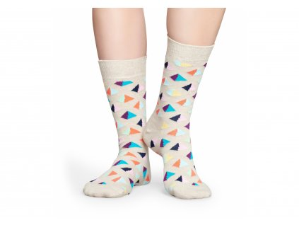Béžové ponožky Happy Socks s barevnými pyramidami (PYR01-1000)