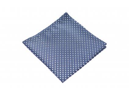 Tmavě modrý kapesníček s bílým puntíkem