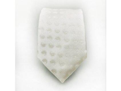 Bílá svatební kravata Paisley z hedvábí 3
