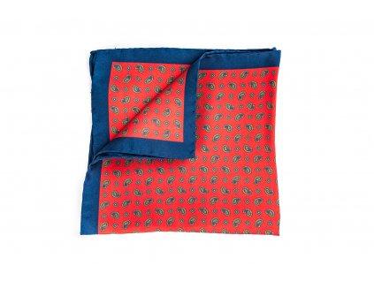 Červenomodrý hedvábný kapesníček Paisley 1