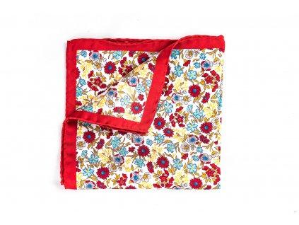 Červený květinový kapesníček z hedvábí 1