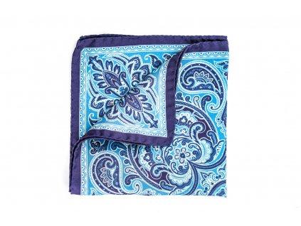 Modrý hedvábný kapesníček Paisley 1