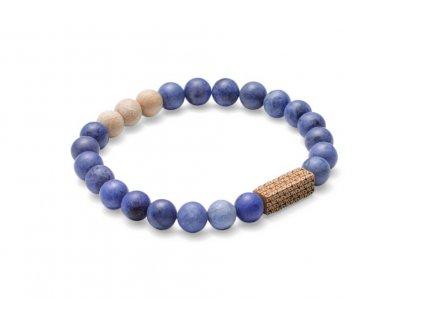 Modrý korálkový náramek se dřevem 0 sole bracelet