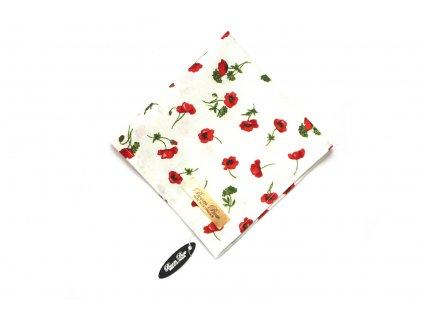 Bílý bavlněný kapesníček do kapsy s máky