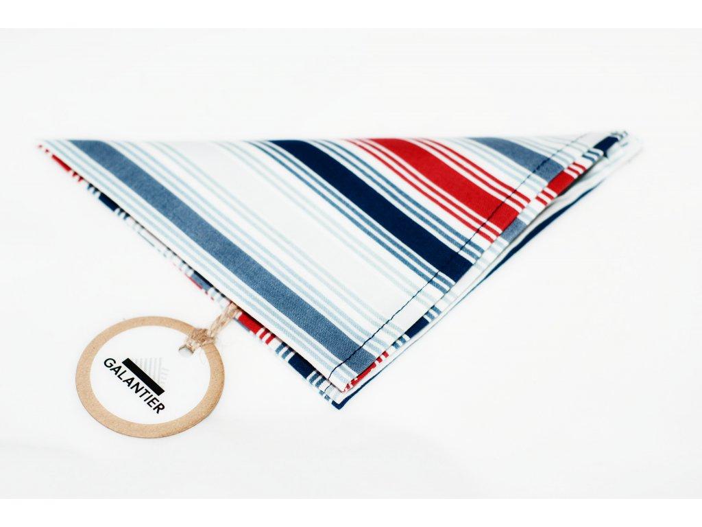 2967 pruhovany kapesnicek do klopy modro cerveno sedo bily