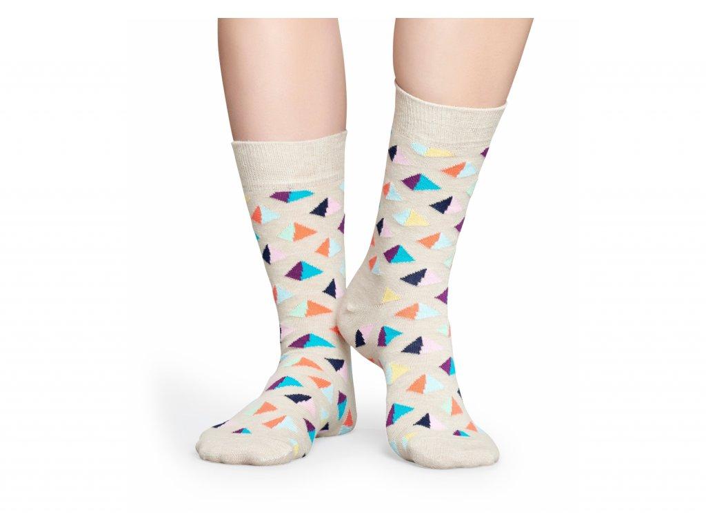 Béžové ponožky Happy Socks s barevnými pyramidami (PYR01-1000) (Velikost ponožek 36-40)
