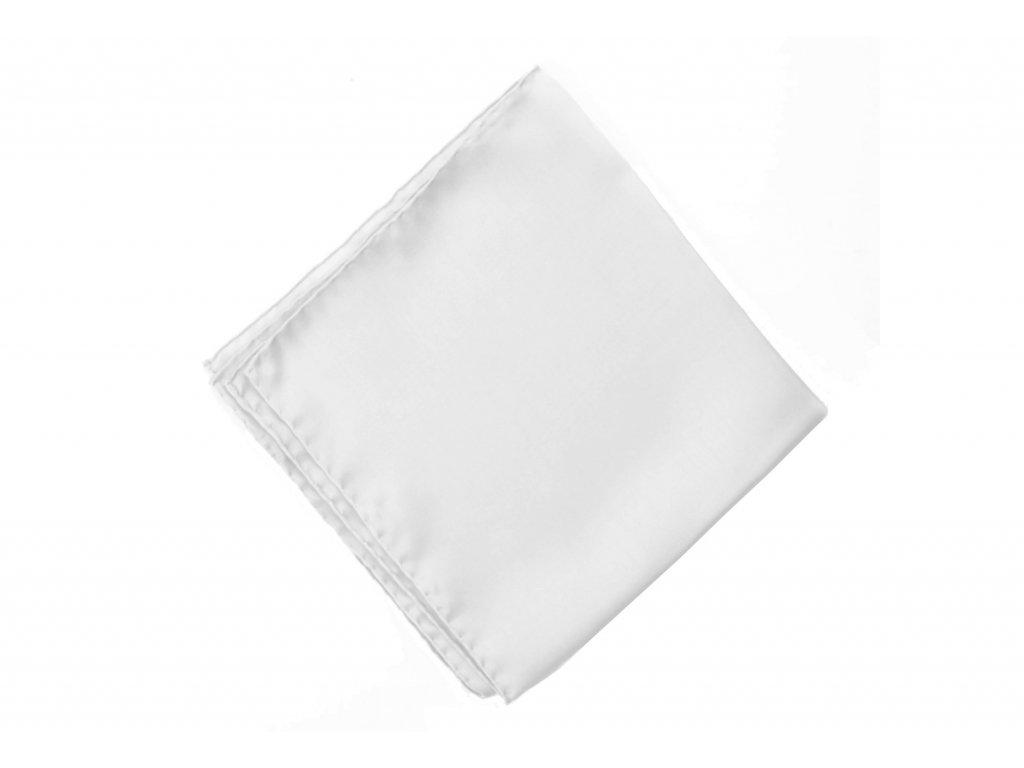 Bílý svatební kapesníček z hedvábí