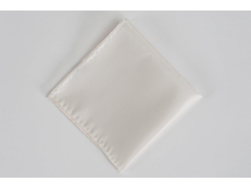 Bílý svatební kapesníček z hedvábí Diamant