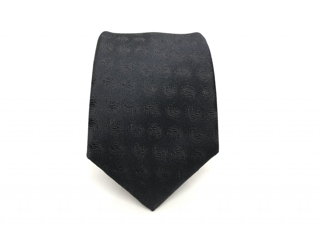 Černá svatební kravata Paisley z hedvábí 1960x1300