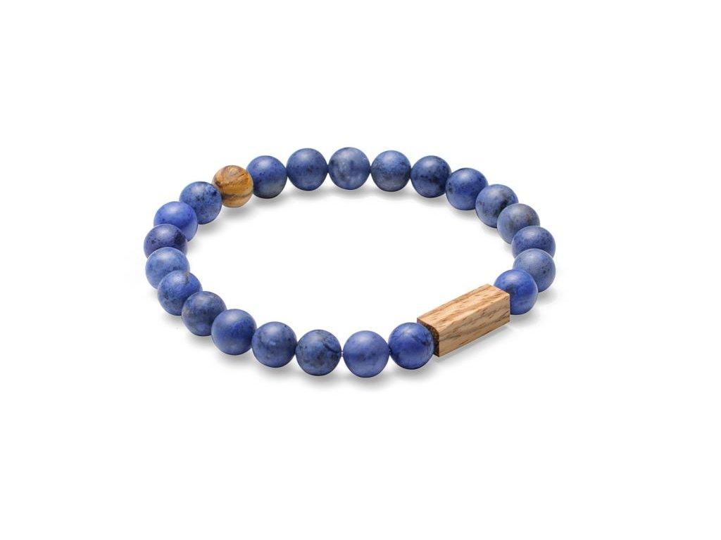 Modrý korálkový náramek se dřevem 0 celli bracelet