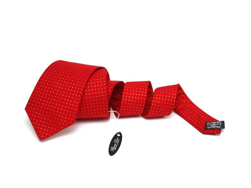 1892 cerveno zlata bavlnena kravata