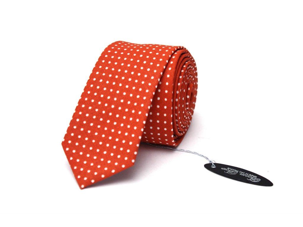 1574 3 cerveno cihlova puntikovana kravata